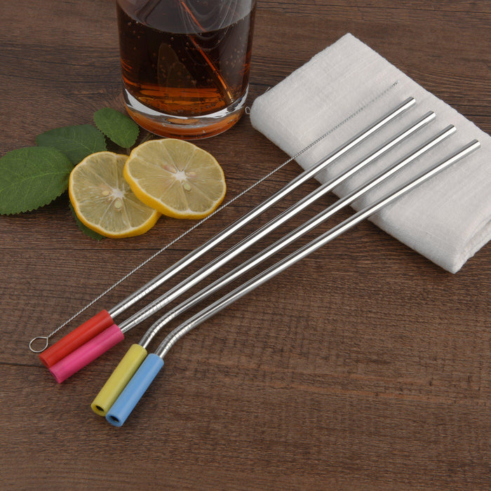 "Reusable drinking metal straws, 8 pack 10.5"" long Stainless steel straws with silicon tips-Simply Eco Store"