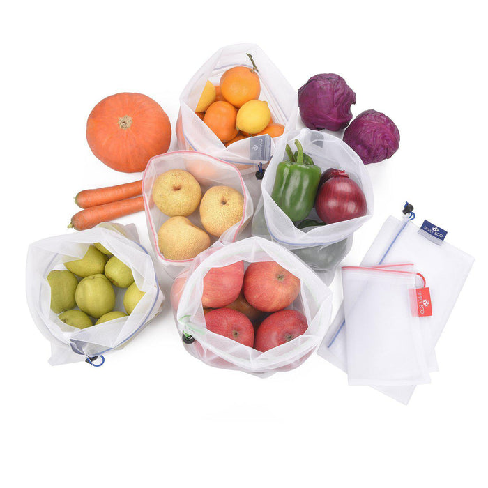 Reusable Produce Bags with Zero Waste, See-Through mesh Green Bags for Fruit and Veggies.-Simply Eco Store