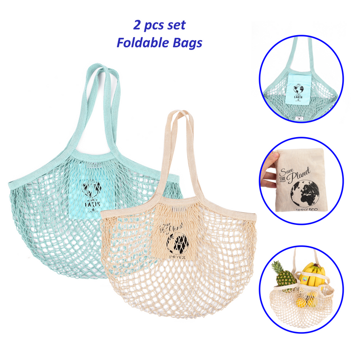 SIMPLY ECO 2 pack Zero Waste Reusable Cotton Grocery String Mesh Produce Bags. Foldable and Washable Tote Net Bag for Farmers Market Shopping