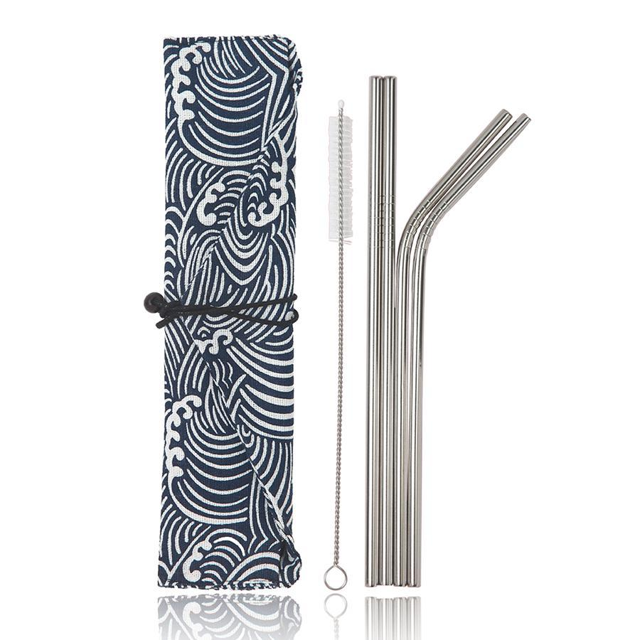 "Stainless Steel Reusable Metal Straws - 4 Pack 8.5"" (Small Waves)-Simply Eco Store"