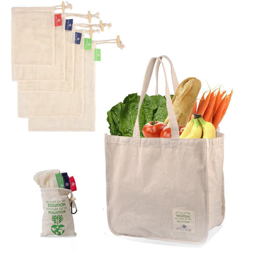 Sturdy Reusable Canvas Shopping Tote Bag for Groceries and Cotton Reusable Mesh Produce Bags-Simply Eco Store