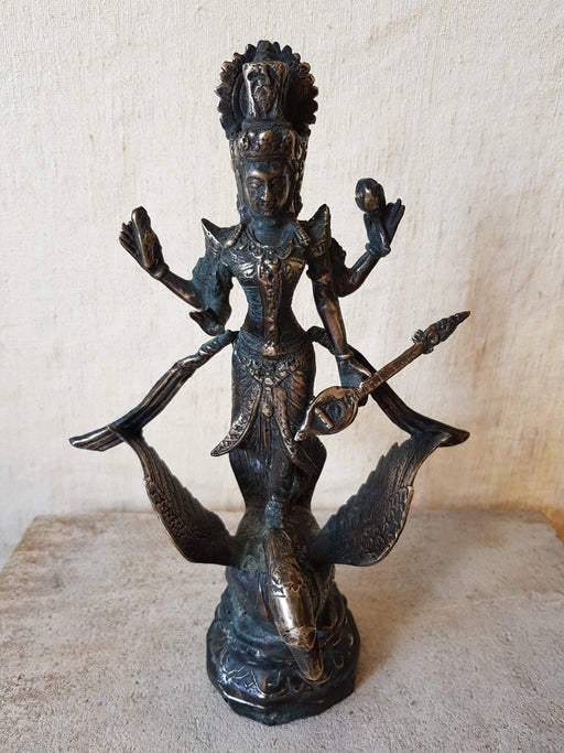 Saraswati Goddess of Knowledge - Cast Bronze