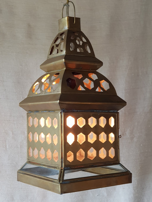 Brass & Glass Cutout Lantern