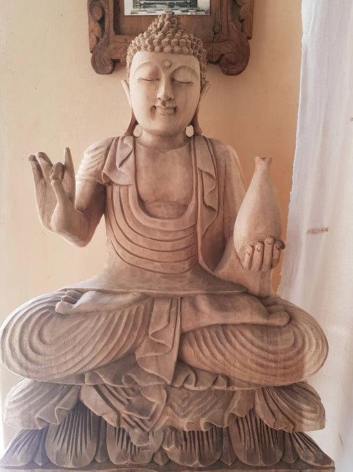 Medicine Buddha - Hand Carved Jackfruit Wood