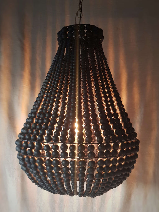 Dark Wood Stain Beaded Chandelier