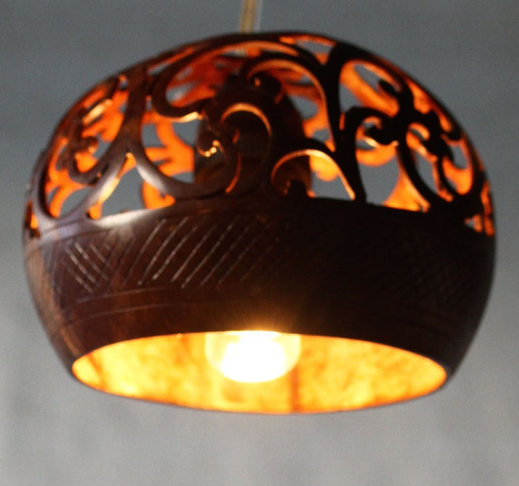 Hand Carved Coconut Light