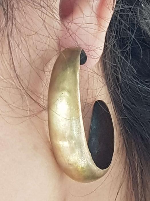 Large Brass Hoop Earrings