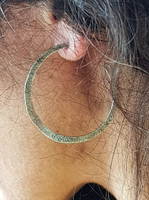 Stirling Silver Thin Beaten Hoops