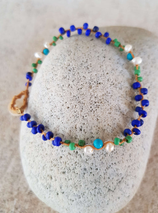 Braided Pearl & Turquoise Beaded Bracelet