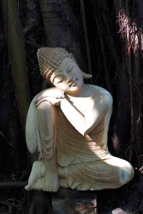 Relaxed Pose Buddha - Hand Carved Jackfruit Wood