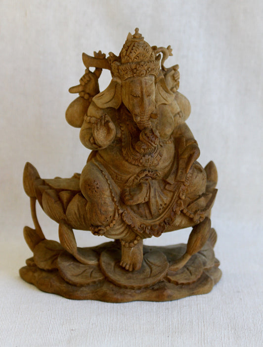 Ganesh - Ornately Carved Hibiscus Wood