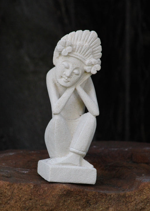 Balinese Moon Goddess - Hand Carved Sandstone