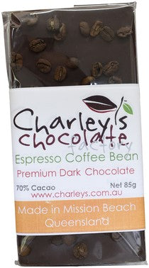 Charley's Chocolate Factory Espresso Coffee Bean Dark Chocolate