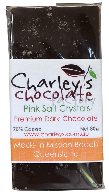 Charley's Chocolate Factory Pink Salt Crystals Dark Chocolate