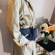 Load image into Gallery viewer, Navy Straw Crossbody