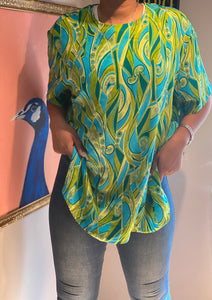Cool Colored Print Blouse