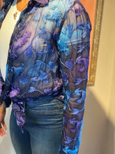 Load image into Gallery viewer, Sheer Blue Floral Blouse