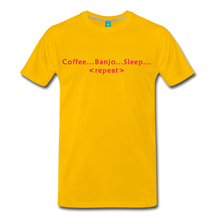 Load image into Gallery viewer, Men's Coffee Banjo Sleep Repeat T-Shirt - sun yellow
