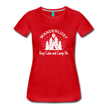 Load image into Gallery viewer, Women's Keep Calm, Camp On (white) - red