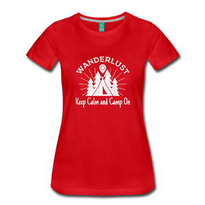 Women's Keep Calm, Camp On (white) - red