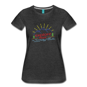 Women's Colored Explore More T-Shirt - charcoal gray