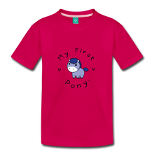 Load image into Gallery viewer, Toddler My First Pony T-Shirt (blue patch) - dark pink