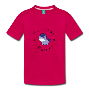 Toddler My First Pony T-Shirt (blue patch) - dark pink