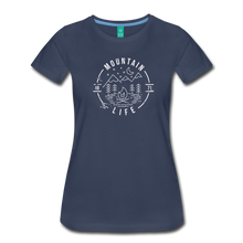 Load image into Gallery viewer, Women's Distressed Mountain Life T-Shirt - navy