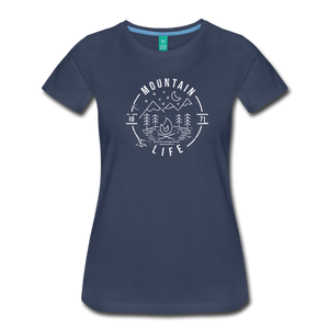 Women's Distressed Mountain Life T-Shirt - navy