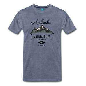 Men's Dark Authentic Mountain Life Clothing Co. T-Shirt - heather blue
