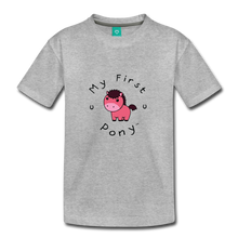 Load image into Gallery viewer, Toddler My First Pony T-Shirt (pink patch) - heather gray