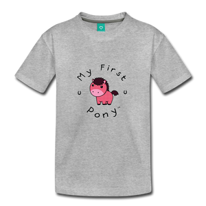 Toddler My First Pony T-Shirt (pink patch) - heather gray