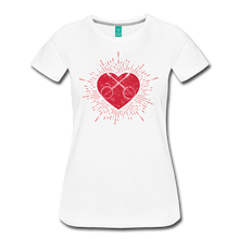 Load image into Gallery viewer, Women's Sunburst Heart Banjo T-Shirt - white