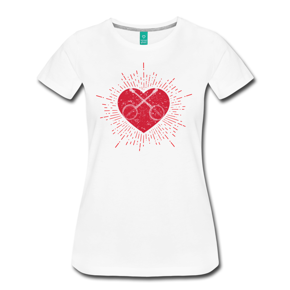 Women's Sunburst Heart Banjo T-Shirt - white