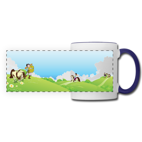 Horse on a Spring Day Mug - white/cobalt blue
