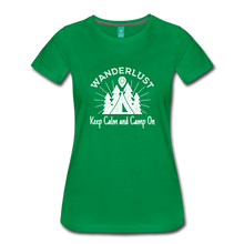 Load image into Gallery viewer, Women's Keep Calm, Camp On (white) - kelly green