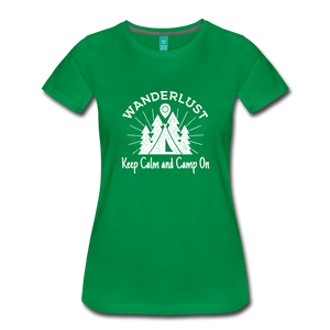 Women's Keep Calm, Camp On (white) - kelly green