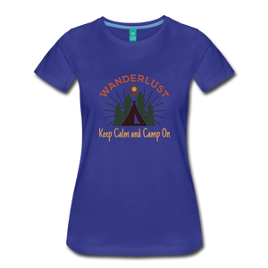 Women's Keep Calm, Camp On - royal blue