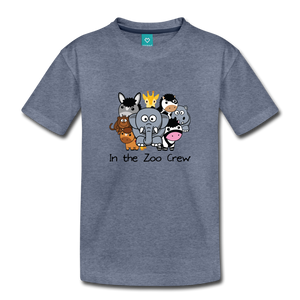 Toddler In the Zoo Crew T-Shirt - heather blue