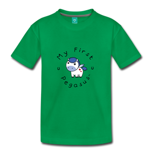 Toddler My First Pegasus T-Shirt (white/blue) - kelly green