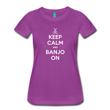 Load image into Gallery viewer, Women's Keep Calm Banjo On T-Shirt - light purple