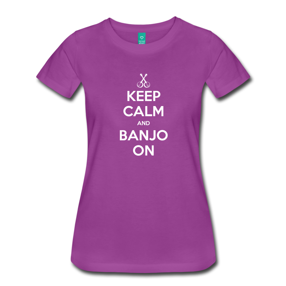 Women's Keep Calm Banjo On T-Shirt - light purple