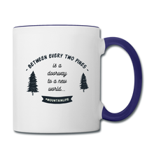 Load image into Gallery viewer, Between Every Two Pines Coffee Mug - white/cobalt blue