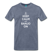 Load image into Gallery viewer, Men's Keep Calm and Banjo On T-Shirt - heather blue