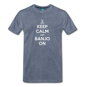 Men's Keep Calm and Banjo On T-Shirt - heather blue