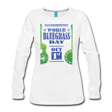 Load image into Gallery viewer, Women's Faded Blue/Green World Bluegrass Day Long Sleeve Shirt - white