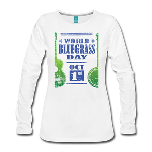 Women's Faded Blue/Green World Bluegrass Day Long Sleeve Shirt - white