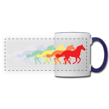 Load image into Gallery viewer, Rainbow Horses Mug - white/cobalt blue