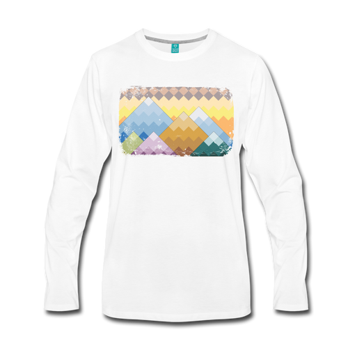 Men's Pixelated Mountains Long Sleeve Shirt - white