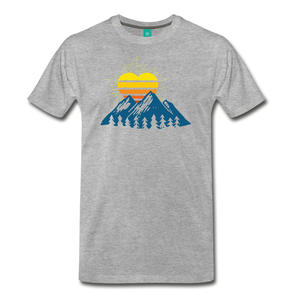 Men's Mountains Sun Heart T-Shirt - heather gray